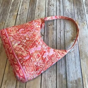 Vera Bradley Pink Orange Shebert Hobo Purse